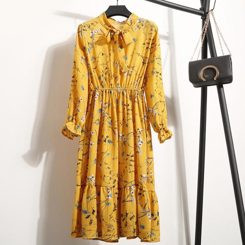 Women Autumn Winter Floral Print Midi Dress Elegant Office Chiffion Dresses 2020 Fashion Long Sleeve Female Dress Vestidos