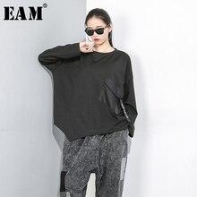 [EAM] Delle Donne Loose Fit Tasca Oversize Impiombato Irregolare T Shirt New Girocollo a Manica Lunga di Modo di Marea di Autunno della Molla 2020 1D074