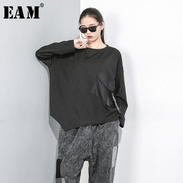 [Eem] kadınlar gevşek Fit cep boy eklenmiş düzensiz desenli tişört yeni yuvarlak boyun uzun kollu moda gelgit bahar sonbahar 2020 1D074
