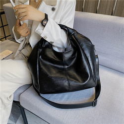 Large Capacity Women Shoulder Hobo Bags 2020 Black Wide Strap Cossbody Bag Soft PU Leather Casual Tote Bag for Lady Sac A Main