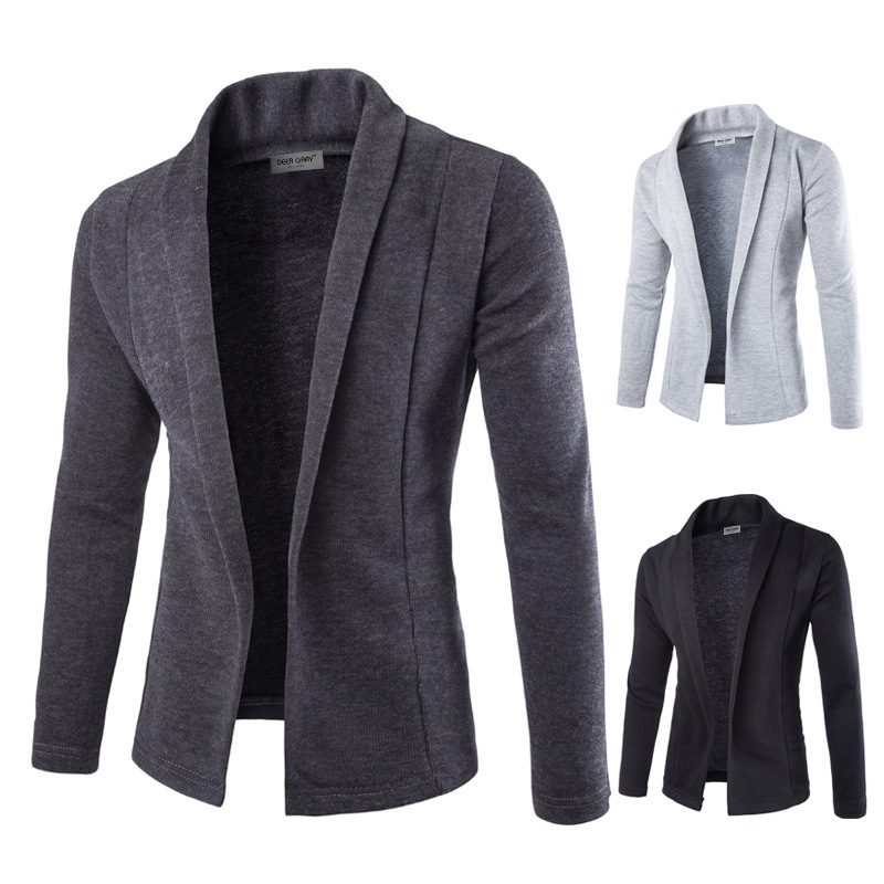 Mens Solid Blazer Cardigan Long Sleeve Casual Slim Fit Sweater Jacket Knit Coat -OPK