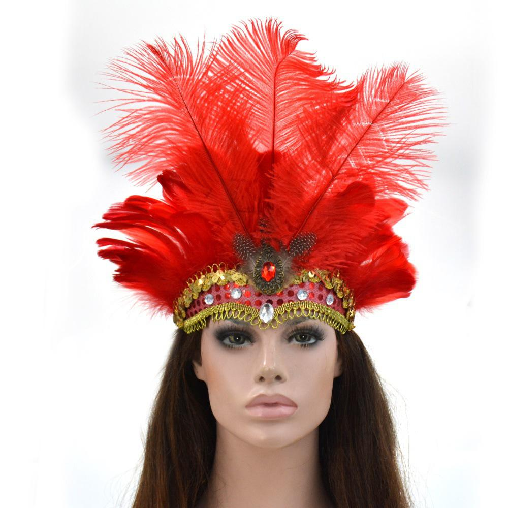 Women Halloween Xmas Festival Vacation Night Club Cocktail Carnival Party Belly Dance Show Headdress Feather Headwear Costume