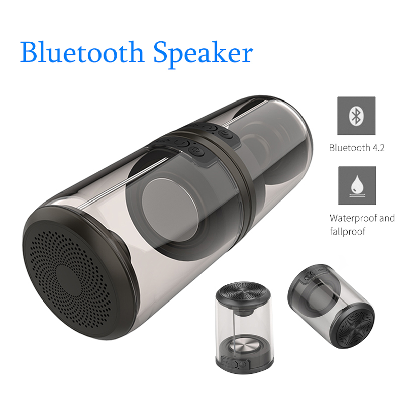 Bluetooth Wireless Speakers HiFi Stereo Waterproof Mini Outdoor Speakers Rechargeable Portable Built-in Microphone Box for Phone
