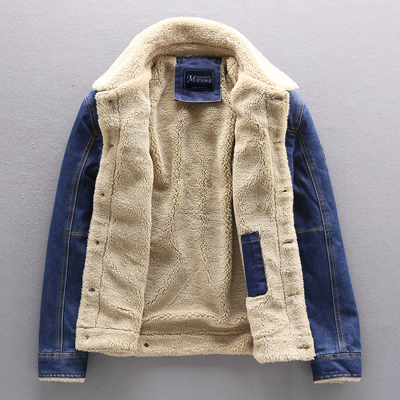 Jean Jacket Men Thick Streetwear Denim Bomber Jackets Coat Male Vintage Blue Men's Outwear Plus Velvet Single Breasted Windbreak
