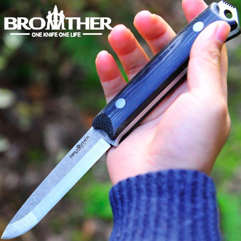 [BROTHER F003] 58-60HRC lame Scandi couteau à lame fixe couteau Bushcraft couteaux droit tactique chasse Camping outil EDC de haute qualité