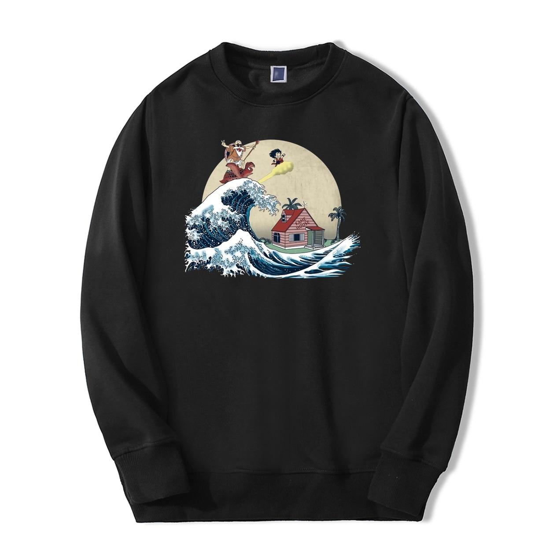 Dragon Ball Master Roshi Vintage Mens Sweatshirt The Great Retro Wave Japan Anime Hoodie Casual Harajuku Streetwear Tracksuit