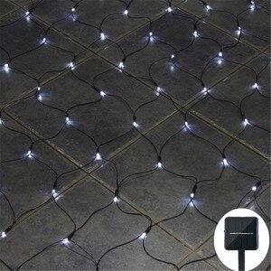 Image 2 - Solar powered Led Net Mesh String Light 1.1x1.1M 2x3M Home Garden Window Curtain Decoration lights for Christmas Wedding