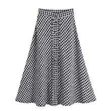 цена на Elegant Tweed Houndstooth Skirt Party Skirt Empire Women Split A-Line Long High Waist Skirts