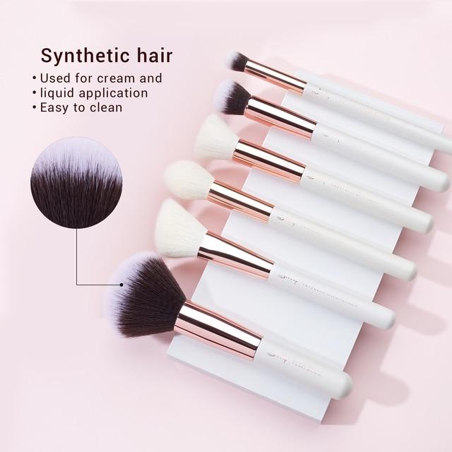 Jessup Makeup brushes set 6-25pcs Pearl White / Rose Gold Professional Make up brush Natural hair Foundation Powder Blushes 3