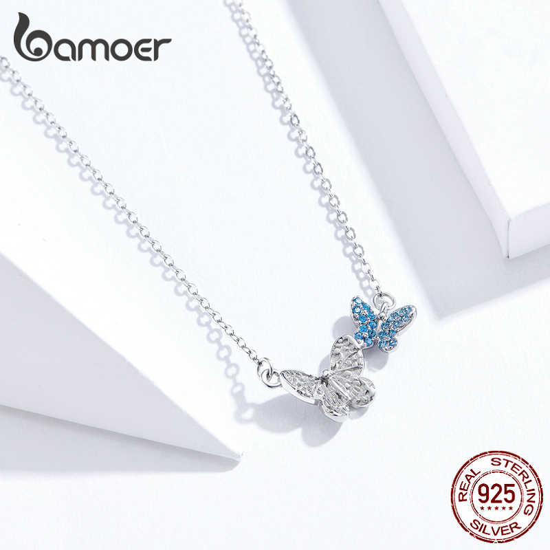 Bamoer 100% saf 925 ayar gümüş uçan kelebek kısa kolye kadınlar için kore tarzı moda takı 2020 mod SCN384