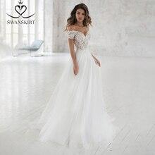Swanskirt Schatz Spitze Hochzeit Kleid 2020 Romantische Appliques A Line Weg Von der Schulter Prinzessin Braut Kleid Vestido de novia NR06