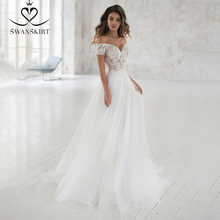 Swanskirt Sweetheartลูกไม้ชุดแต่งงานโรแมนติก2020 Appliques A Lineปิดไหล่เจ้าหญิงชุดเจ้าสาวVestido De Novia NR06