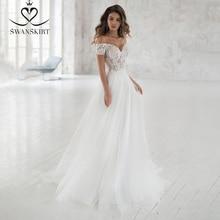 Swanskirt sevgiliye dantel düğün elbisesi 2020 romantik aplikler A Line kapalı omuz prenses gelin kıyafeti Vestido de novia NR06