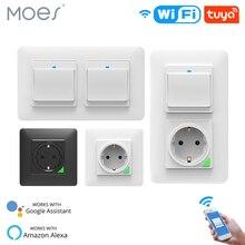 WiFi inteligentna żarówka gniazdko ścienne gniazdko Push Button DE EU inteligentne życie Tuya bezprzewodowy pilot działa z Alexa Google Home
