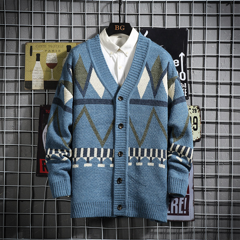 2019 Autumn & Winter New Arrival Men Imitation Fur Loose Plus Size Cardigan Sweater Handsome Sweater Casual Size 5XL