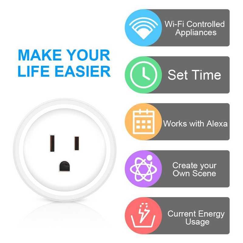 Ổ Cắm Thông Minh, Mini Ổ Cắm Thông Minh Wifi Kích Hoạt, Tương Thích Với Alexa, Hỗ Trợ 2.4GHz Mạng Wifi, điện Áp 100-240 V, Công Suất Điện S