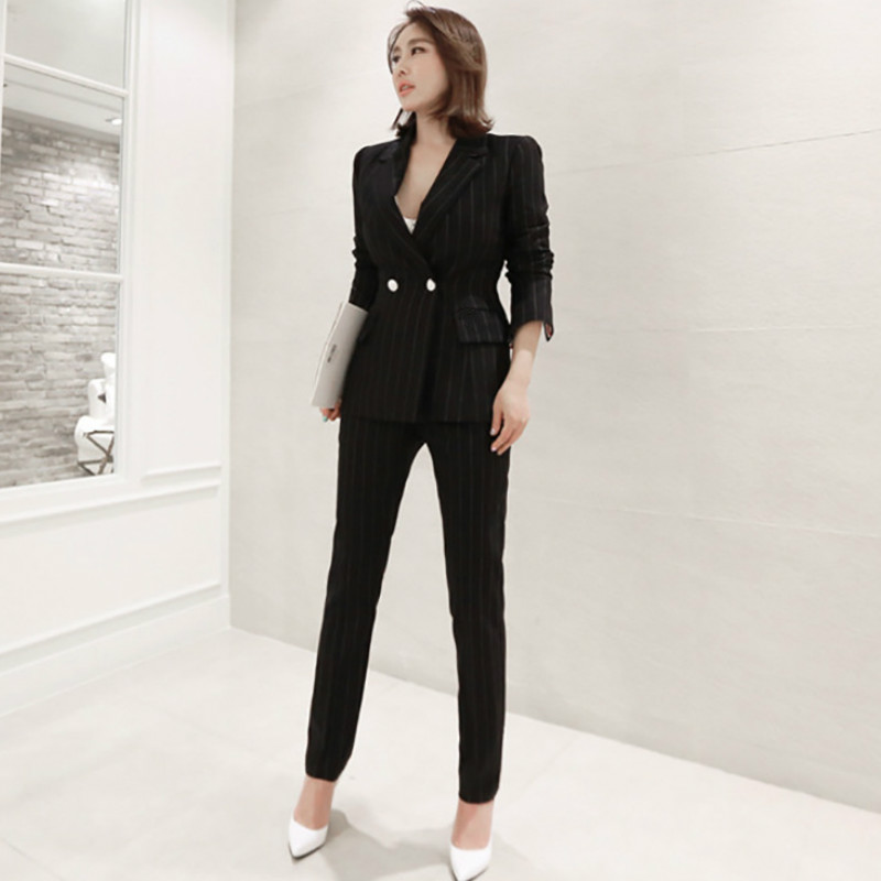 Autumn And Winter Professional Women's Suits Office Trousers Suit Two-piece Suit New Slim Striped Ladies Blazer Fashion Trousers