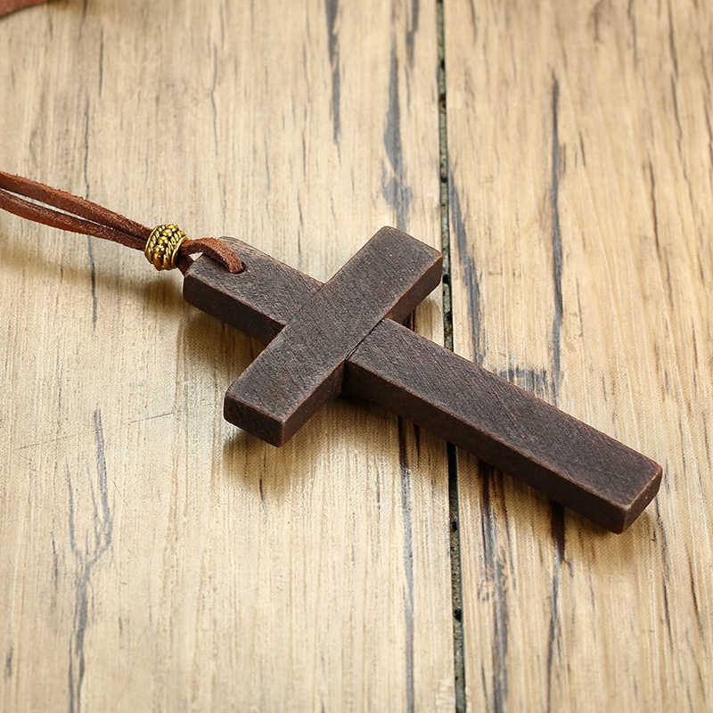 Drewniany krzyż naszyjnik na skórzany sznur dla mężczyzn wisiorek w czarnym brązowym odcieniu jezus chrystus Lord biżuteria modlitewna