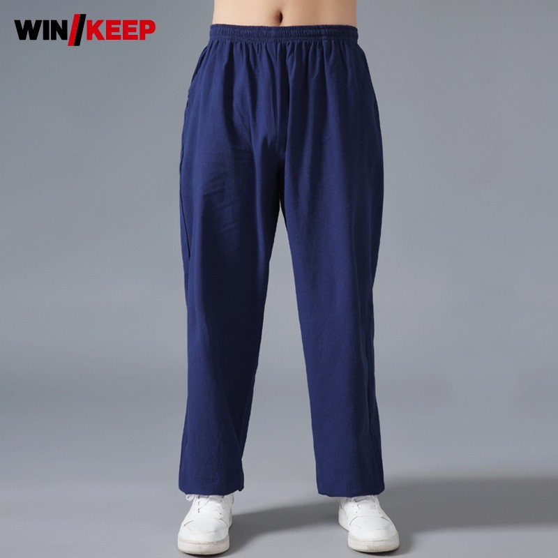 Men Martial Arts Training Pants Loose Fit Kung Fu Lantern Pants Tai Chi Trousers Unisex Cotton Lining Wing Chun Sport Sweatpants