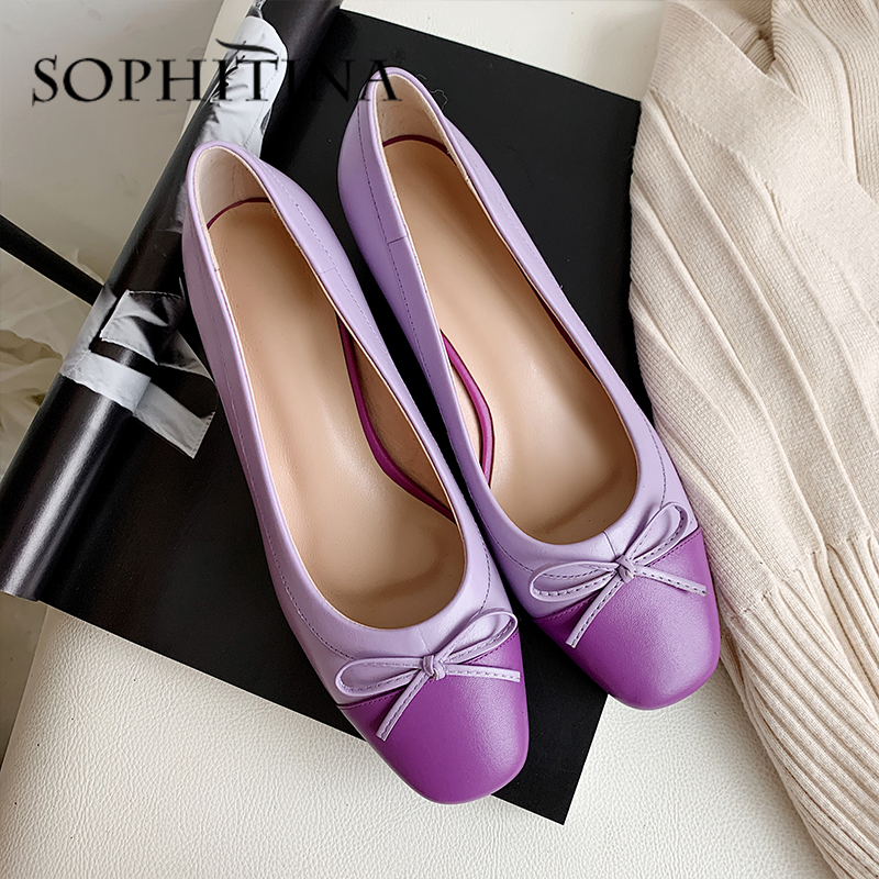 SOPHITINA Sweet Pumps Women' s High Quality Cow Leather Mixed Colors Butterfly-Knot Decoration Shoes Elegant Fashion Pumps PO494