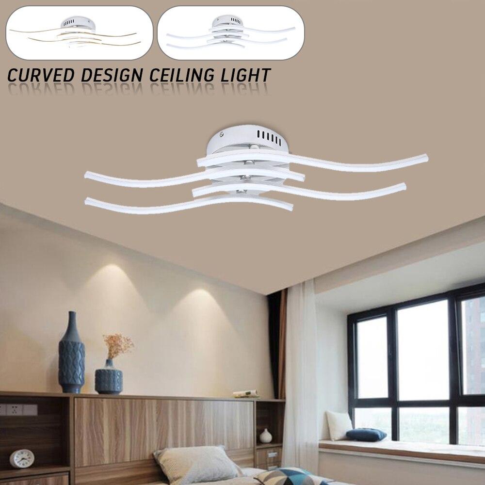 Wavy LED Ceiling Lights 24W 2700k-6500k Panel Light White / Warm White Curved Design Ceiling Lamp For Bedroom Living Room Decor