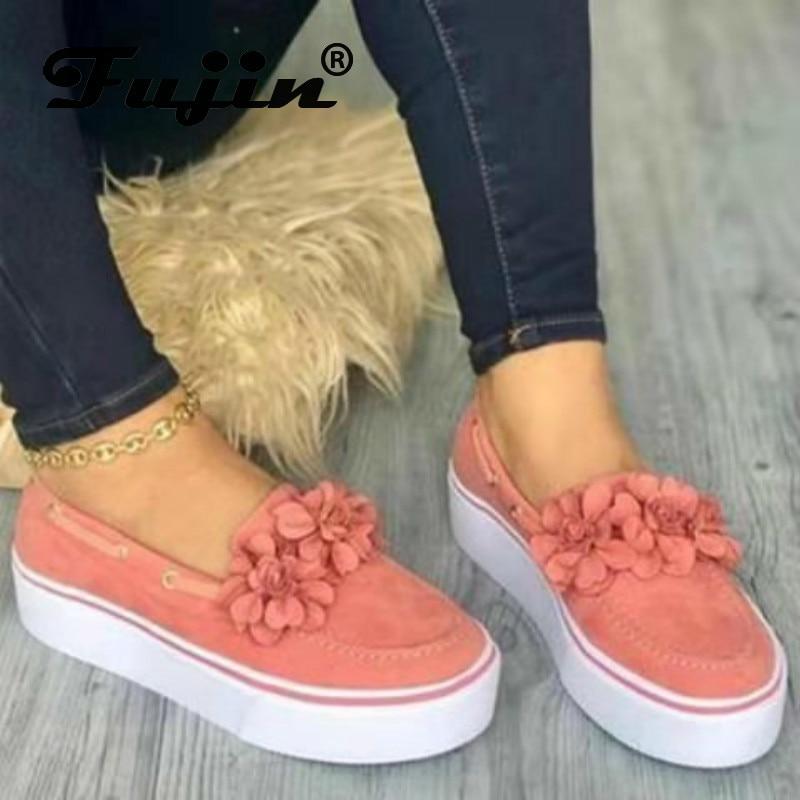 Fujin mulher sapatos planos primavera outono tamanho grande moda fundo grosso sapatos casuais feminino dedo do pé redondo sapatos de flor plana sapatos