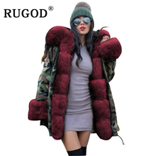 RUGOD Vintage Camouflage Hooded cotton coat women Fashion Winter warm Faux Fur ladies Thicken overcoat 2019 long slim streetwear