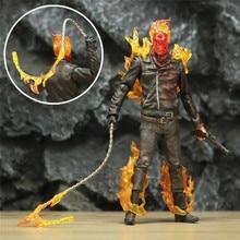 """מותאם אישית 7 """"מקפרליין Ghost Rider דמות פעולת סרט פנטסטי ארבעה ג וני בלייז אגדות סרט צעצועי בובת דגם ניקולא כלוב"""