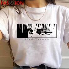 Ataque em titan shingeki não kyojin levi ackerman t camisa masculina casual ulzzang vintage kawaii roupas tshirt streetwear plus size