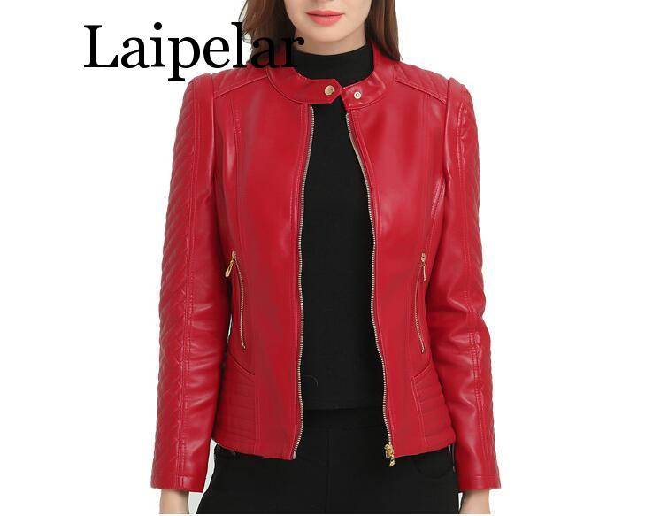 Laipelar Autumn Winter Women's Leather Jacket 6XL Large Size Female Coat Faux Leather Motorcycle Jacket Plus Size PU Red Jacket