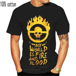 Mad Max Fury Road My World Is Fire And Blood Black Printed T-Shirt Fn9399 For Youth Middle-Age The Elder Tee Shirt