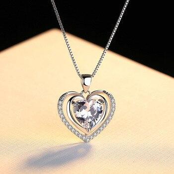 Handmade Rhinestone Pendant Cubic Zirconia Sterling Silver Heart Crystal Necklace  1