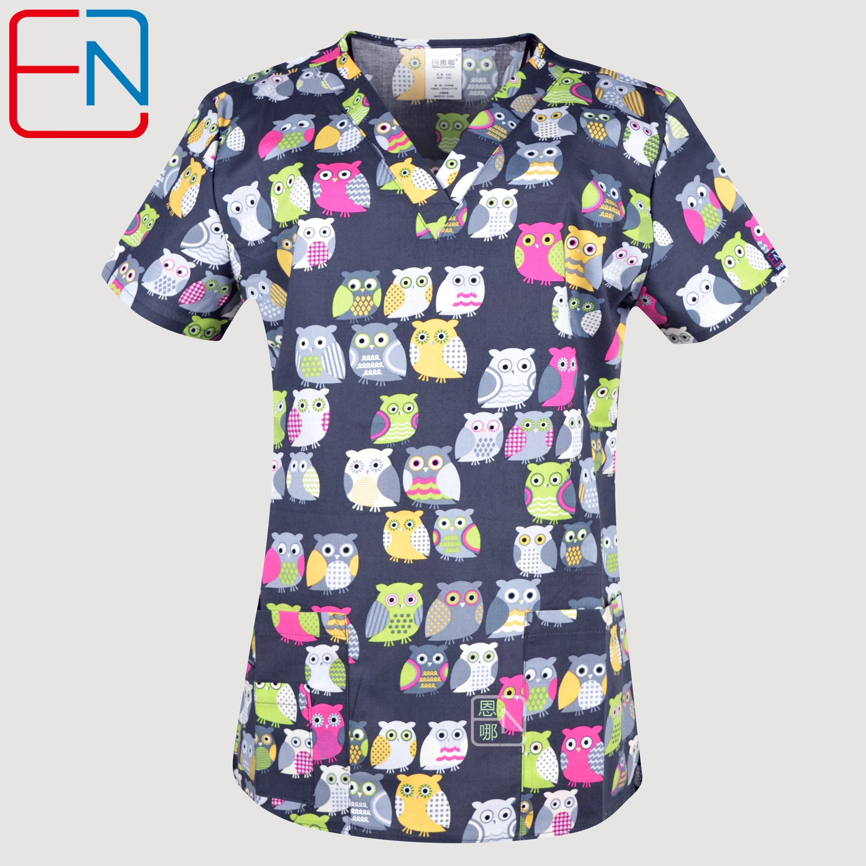 Hennar Women Print Medical Uniform Scrubs Tops Nurse Nursing Clinic Accessories Hospital Medico Clothing Surgical Suit