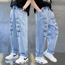 Boys Blue Jeans Summer Pants for Kids Loose Hole Ripped Letter Jeans Streetwear Washed Denim Long Trousers 8 10 12 14 Years Boys