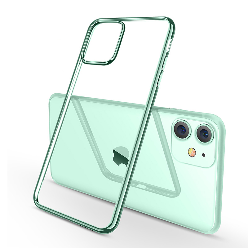 Midnight Green Plating Case for iPhone 11 Pro Max Luxury Soft Silicone Transparent Phone Case for iPhone 11 11Pro XR X XS Max