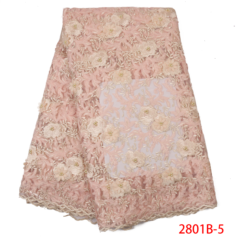 HOT SALE 3D Tulle Lace Fabric Latest African Embroidered Laces French Lace Fabrics With Beads And Flowers KS2801B-5