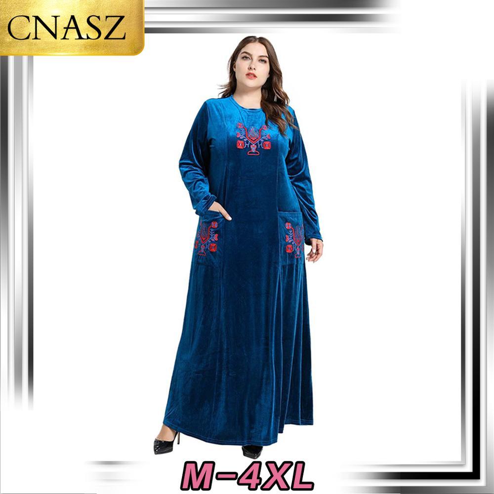 Baju Muslim Islam Turki Fashion Ukuran Besar Wanita Arab Timur Tengah Bordir Emas Beludru Gaun Dubai Pakistan Kimono Pakaian Islamic Aliexpress