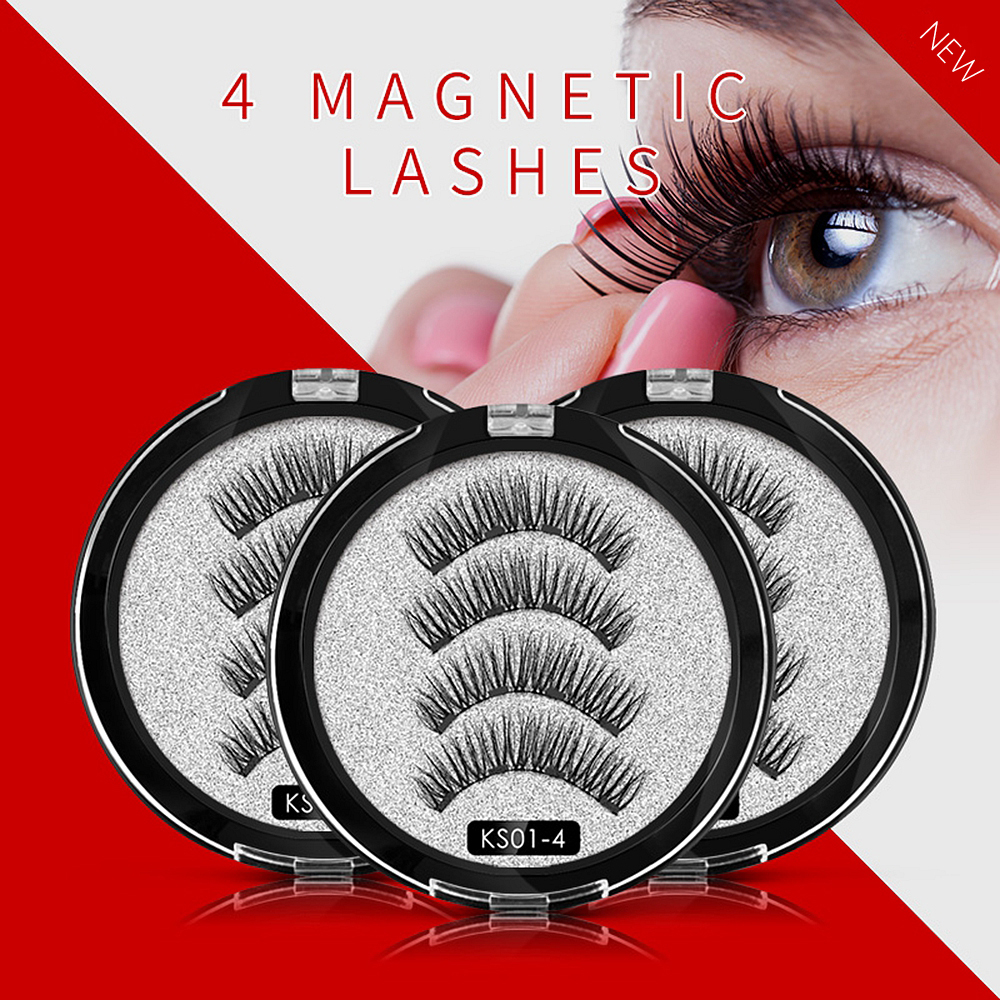 CLOTHOBEAUTY <font><b>Magnetic</b></font> <font><b>Eyelashes</b></font> <font><b>with</b></font> <font><b>4</b></font> <font><b>Magnets</b></font>,Handmade No Glue Full Eye Natural Soft Reusable 3D False <font><b>Eyelashes</b></font> for Makeup-1P image