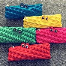 1Pcs Cute Novelty Candy Colors Zipper Monsters Pencil Bag Girl Boys School Pen Shcool Material
