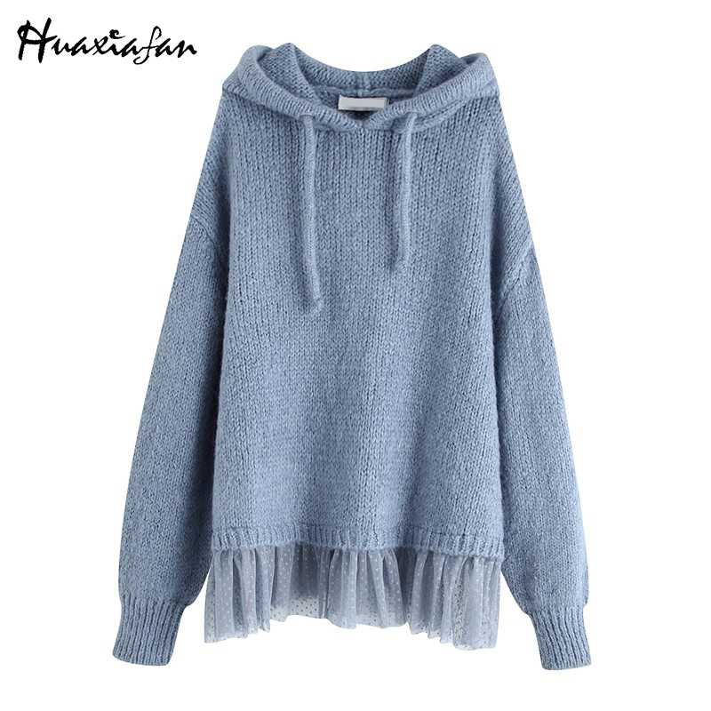 Huaxiafan Sweater Hooded Blue Women Sweaters Thick Pullovers Pleated Lace Women Autumn Winter Tops Femme Casual Loose Sweaters