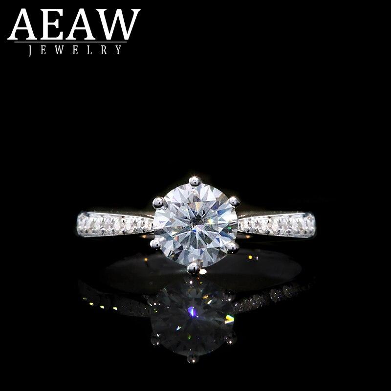 AEAW 14K White Gold Moissanite Ring 1.0ct Round Cut Brilliant Moissanite Ring Engagement Ring for Women