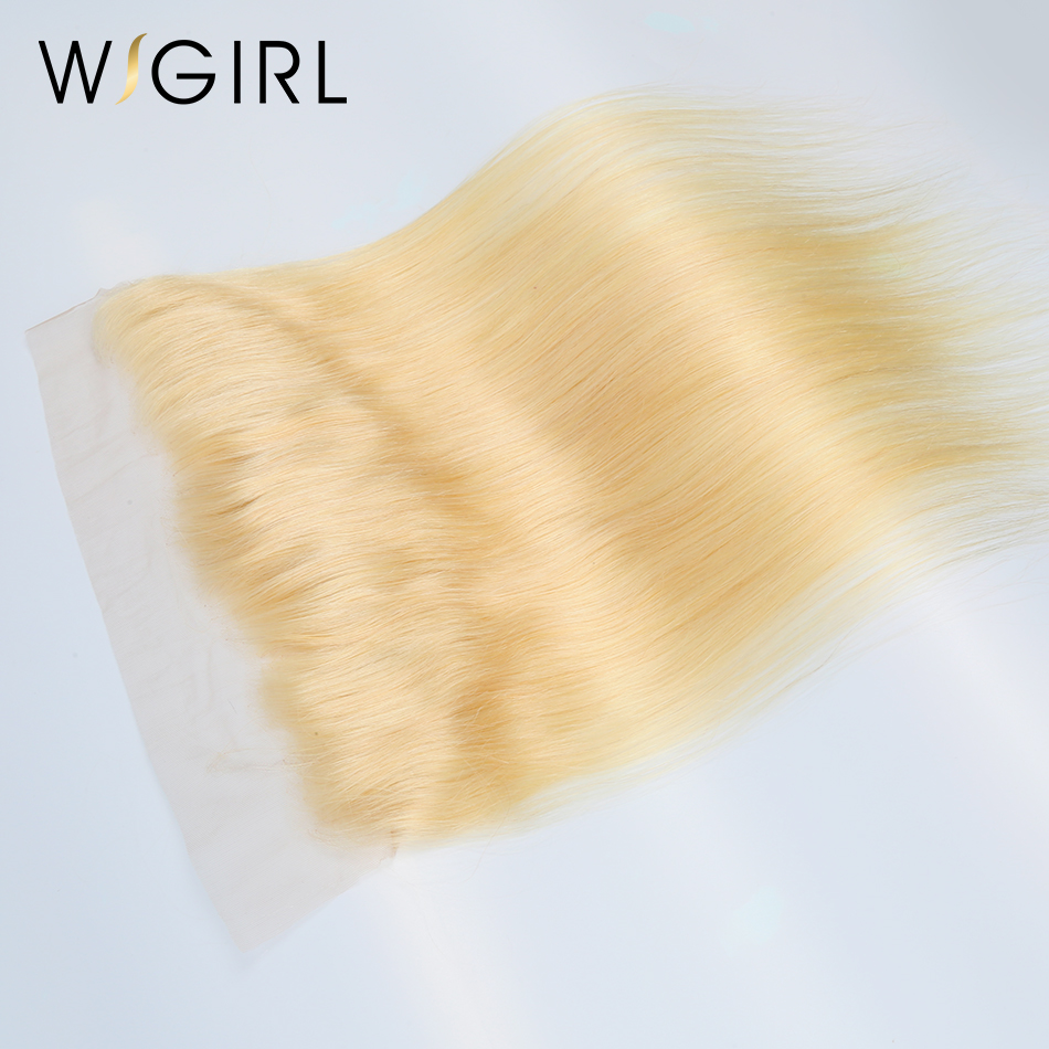 Wigirl Hair Brazilian Remy Hair 13X4 Free Part 613 Blonde Lace Frontal Closure Straight Human Hair 130% Density Free Ship image
