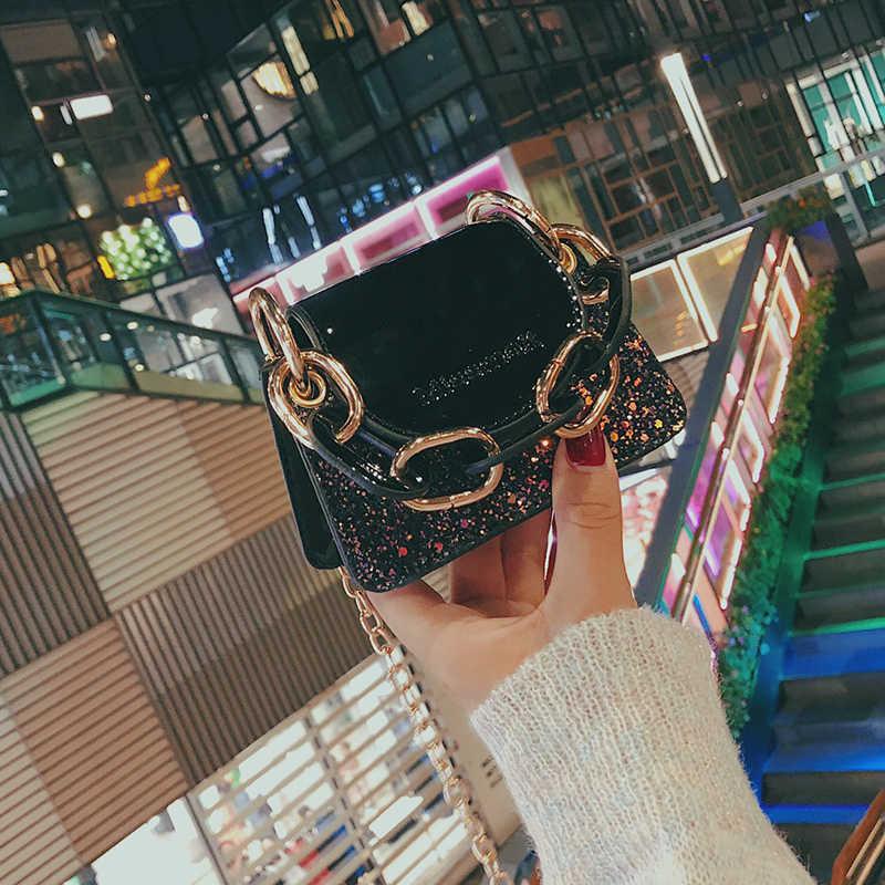 Elegante Femmina Mini Paillettes Tote bag 2019 di Modo di Qualità delle Donne della pelle Verniciata Del Progettista Borsa A Tracolla A Catena Borse A Tracolla