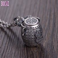 New 100% real S925 silver vintage craft Thai silver sachet good luck money pattern engrave pendant woman's silver pendant