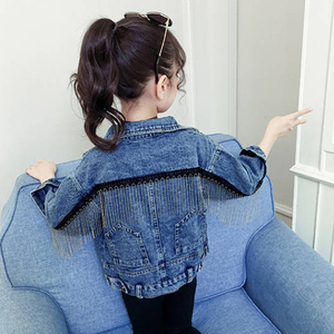 Image 1 - سترة جينز ماركة بينيميكر للبنات ملابس جينز للأطفال سترة واقية للأطفال من قماش الدنيم معطف بناتي مطرز بشراشيب ملابس خارجية YJ140