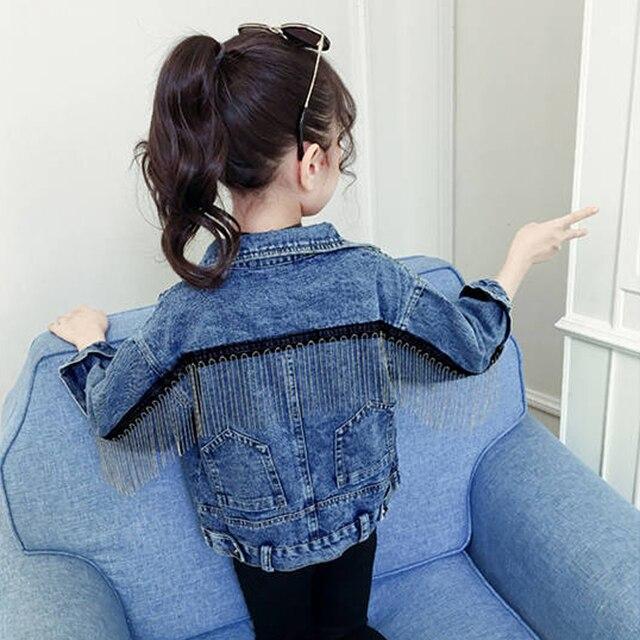 سترة جينز ماركة بينيميكر للبنات ملابس جينز للأطفال سترة واقية للأطفال من قماش الدنيم معطف بناتي مطرز بشراشيب ملابس خارجية YJ140