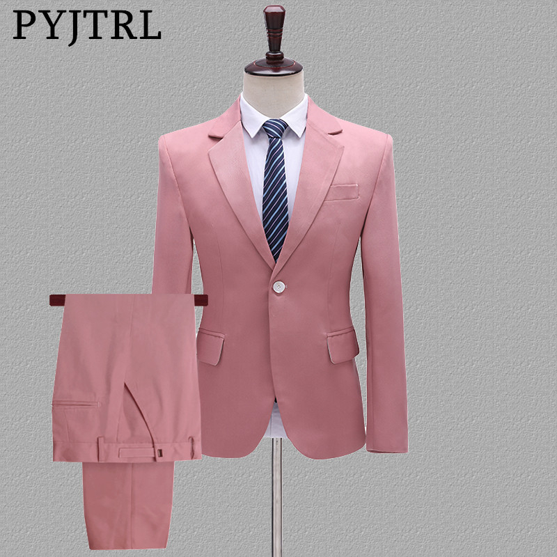 PYJTRL Mens Two-piece Set Wedding Groom Groomsman Suits Yellow Pink Blue Khaki Stage Singers Costume Latest Coat Pant Designs