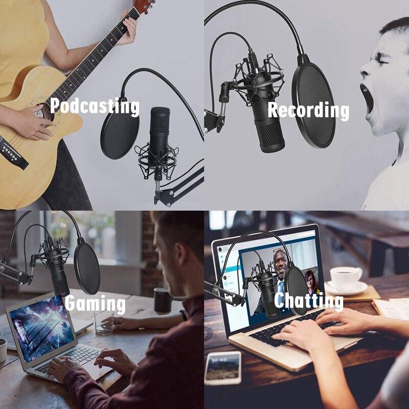 estúdio cardióide condensador mic kit com placa