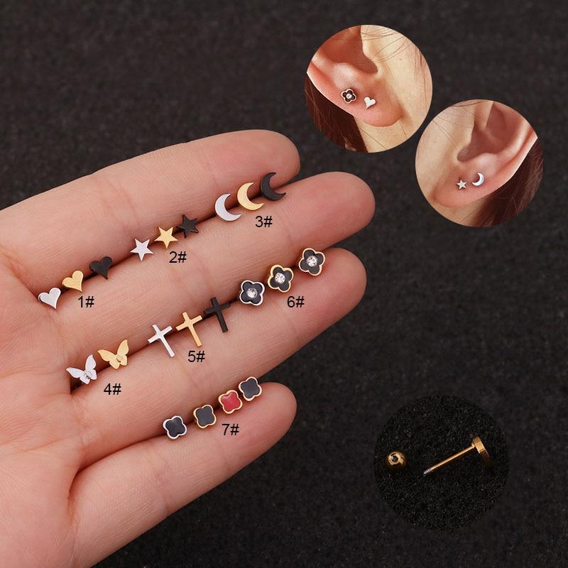 1 шт. мини-серьги-гвоздики в форме сердца, звезды, Луны, Креста, бабочки, спиральный для хряща