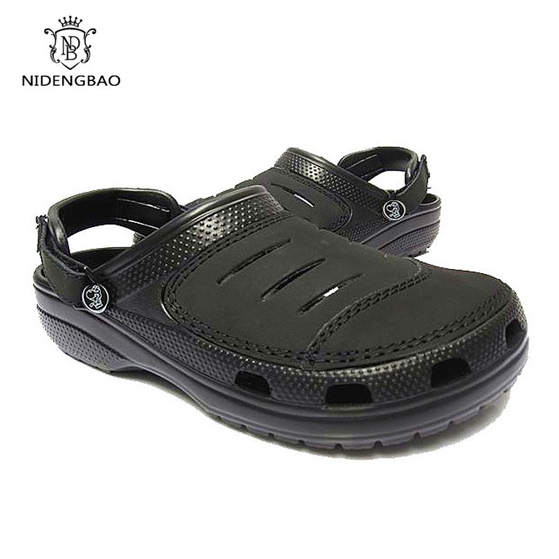 Classic Leather Surface Hole Shoes Male Slippers Summer Beach Garden Shoes High Quality Non-slip Travel Sandals Casual Slides